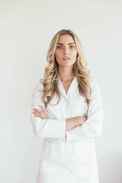Woman Wearing a White Lab Coat