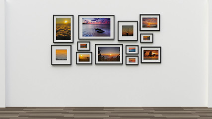 picture in photo frame on wall.Concept Sunset (3d rendering)