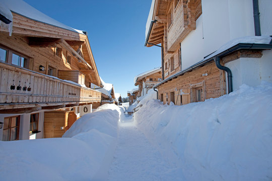 wonderful winter scenery with snow and timber a modern cabin chalet home