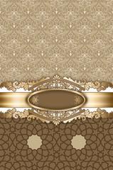 Wall Mural - Elegant vintage background with decorative golden patterns.