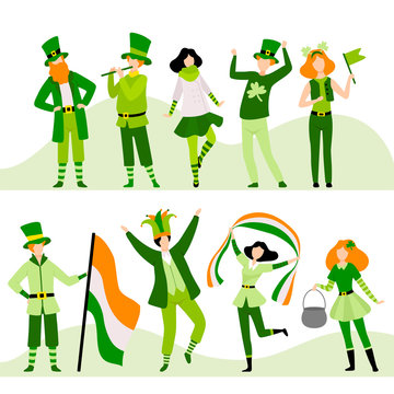 People in Festive Costumes Celebrating Saint Patrick Day Vector Illustration