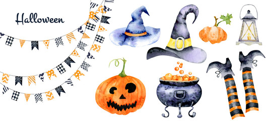 Set for halloween with watercolor images of holiday attributes