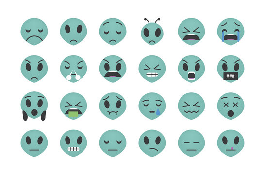 Set of sad alien emoticon vector