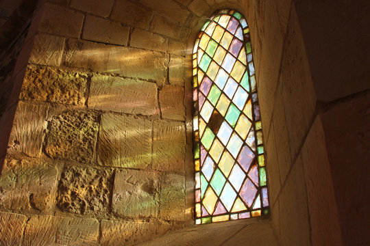 Stained-glass window in a church (La Chaume - France)