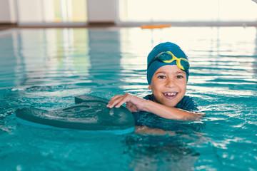 Boy on swimming class