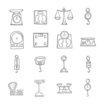 Set of scale icons Drawing illustration Hand drawn doodle Sketch line vector eps10