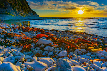 Rocky foreshore at sunset