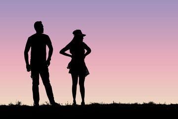 Silhouette young couple
