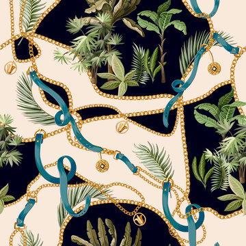 Seamless summer pattern with belts, chains and tropical leaves and trees. Trendy fashion print.