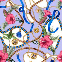 Motif d& 39 été sans couture avec ceintures, chaînes et feuilles et fleurs tropicales. Impression de mode à la mode.