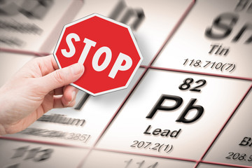Stop heavy metals - Concept image with hand holding a stop sign against a Lead chemical element with the Mendeleev periodic table on background Wall mural