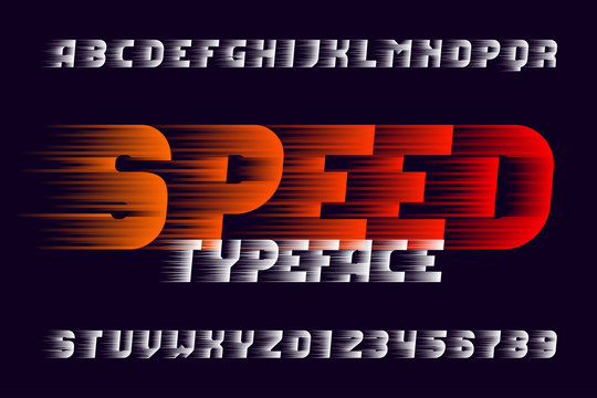 Speed alphabet font. Fast wind effect letters and numbers. Stock vector typeface for your design. Easy color change.