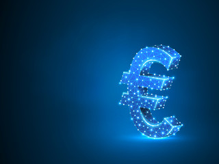 Euro currency sign wireframe digital 3d illustration. Low poly business, data cash, and finance concept with lines, dots, and starry sky on blue background. Raster polygonal neon money symbol RGB