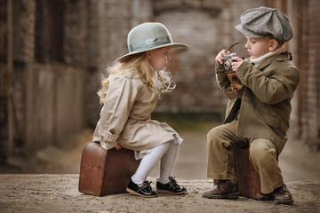 Romantic meeting of two children in the old town