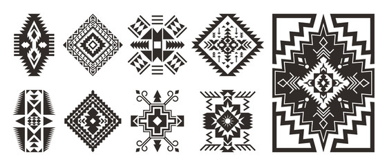 Foto op Canvas Boho Stijl Set of decorative Ethnic elements isolated on white background.