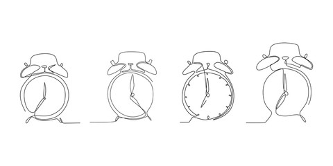 Continuous line drawing of the alarm clock set.