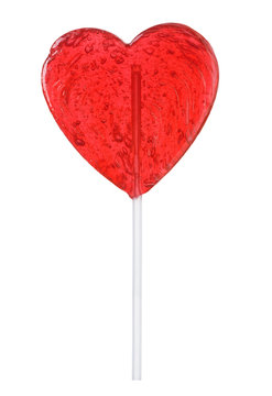 Lollipop heart shape isolated. Transparent candy on stick love valentine's day gift.