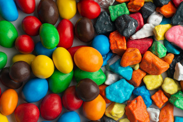 Colorful chocolate candies background