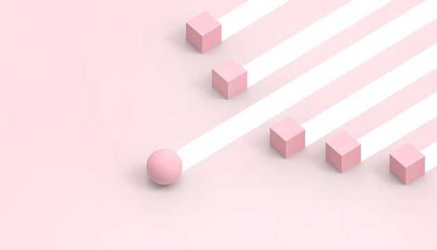 Business Concept Competition movement Rectangular and circular shapes futuristic on pastel Pink background - 3d rendering