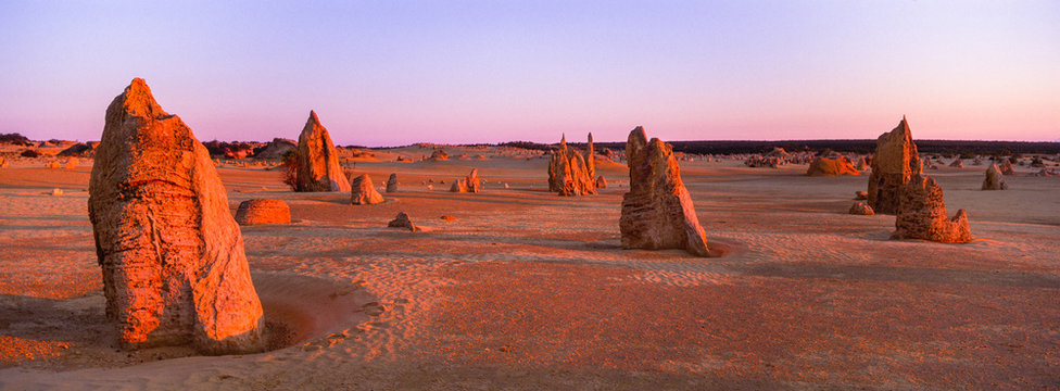Panoramic sunset over the Pinnacles (weathered limestone pillars) near Cervantes, Western Australia