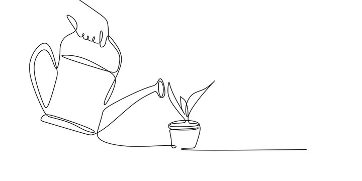 continuous line drawing watering plants.