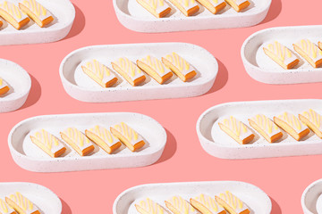 Slices of Cake on Bright Background, Minimal with Copy Space