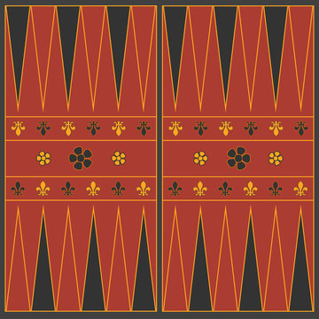 Backgammon playing field in the medieval style. Vector graphics.