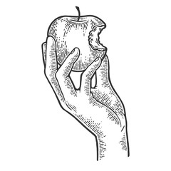 Bitten apple in hand sketch engraving vector illustration. Scratch board style imitation. Black and white hand drawn image.