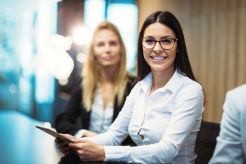 Picture of attractive businesswoman in conference room