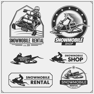 Snowmobile emblems, labels, badges and design elements. Print design for t-shirt and sport club emblems.