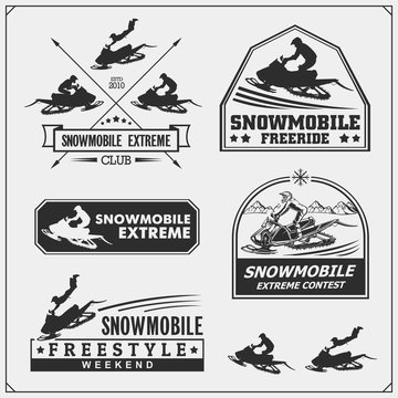 Snowmobile emblems, labels, badges and design elements. Snowmobile Freestyle. Print design for t-shirt and sport club emblems.