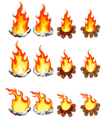 A set of twelve images of fire of different shapes.