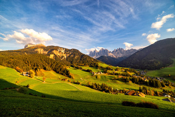 Wall Mural - Santa Maddalena village with magical Dolomites mountains in background, Val di Funes valley, Trentino Alto Adige region, Italy, Europe. Wide view of dramatic Italian Dolomites landscape.