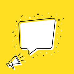 Wall Mural - Male hand holding megaphone speech bubble. Loudspeaker. Banner for business, marketing and advertising. Vector illustration.