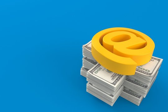 E-mail symbol on stack of money