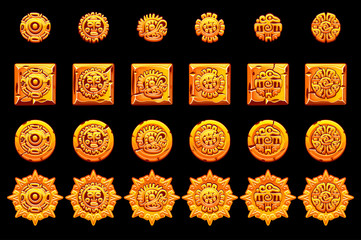Ancient Mexican mythology golden symbols isolated. American aztec, mayan culture native totem. Vector icons.