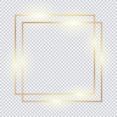 Gold double vector frame for text, banner, photo, decoration on transparent background.