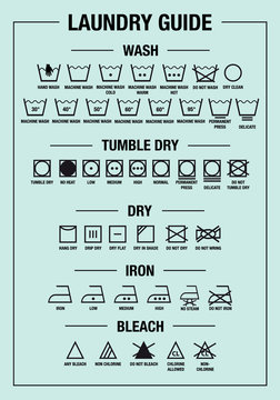 laundry guide, washing, care signs, textile symbols, vector graphic design elements
