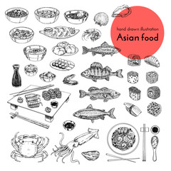 illustration set of asian food. vector sketch with hands drawn traditional japanese food sushi