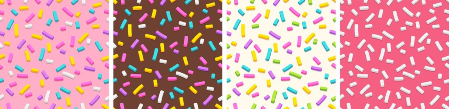 Set of seamless patterns of donut glaze with sprinkles