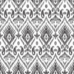 Fotobehang Boho Stijl Black and white seamless background. Ethnic ikat ornament. Vector illustration. Tribal pattern. Can be used for textile, wallpaper, wrapping paper, greeting card backdrop, print.