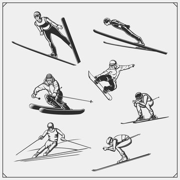 Set of Winter sport athlete silhouettes. Ski jumping, downhill, slalom, skiing emblems. Print design for t-shirt. Sport club emblems.
