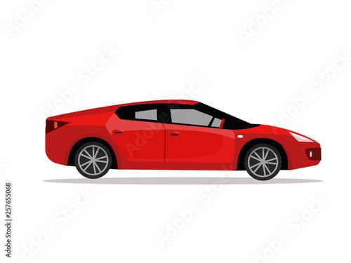 Side View Of Red Sport Car Modern Detailed Car Red Sedan Vehicle