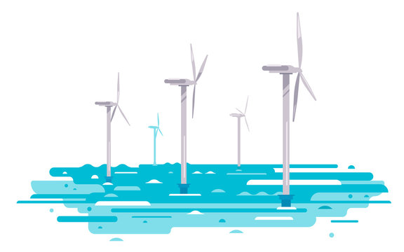 Series of wind generators standing in water, renewable energy concept illustration in flat style isolated