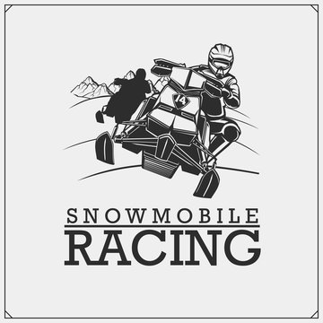 Snowmobile label, badge and design elements. Print design for t-shirt and sport club emblem.