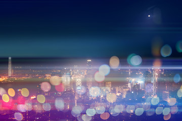 Double exposure with bokeh light in the Hong Kong city