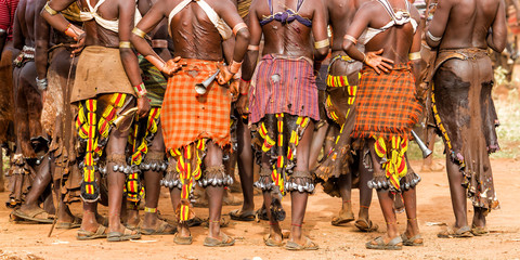 Fototapeta Hamar women in a village near Turmi during a bull jump ceremony.  their backs are full of scars from scourging during these ceremonies. It is a primitive tribe and the women have many decorations. obraz