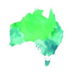 Vector illustration of Australia map with watercolor imitation. Continents Series
