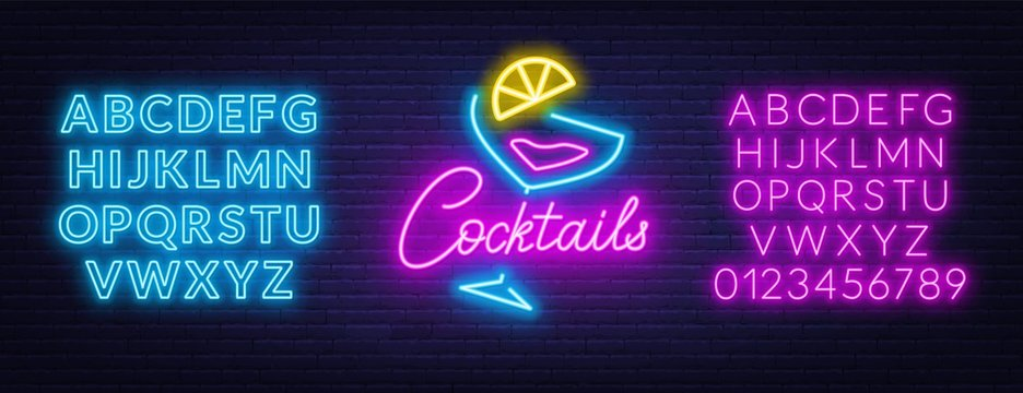 Neon lettering cocktails on brick wall background. Neon fonts.