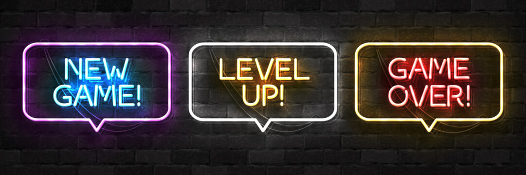 Vector realistic isolated neon sign of New Game, Level Up and Game Over logo for template decoration and covering on the wall background. Concept of gaming.